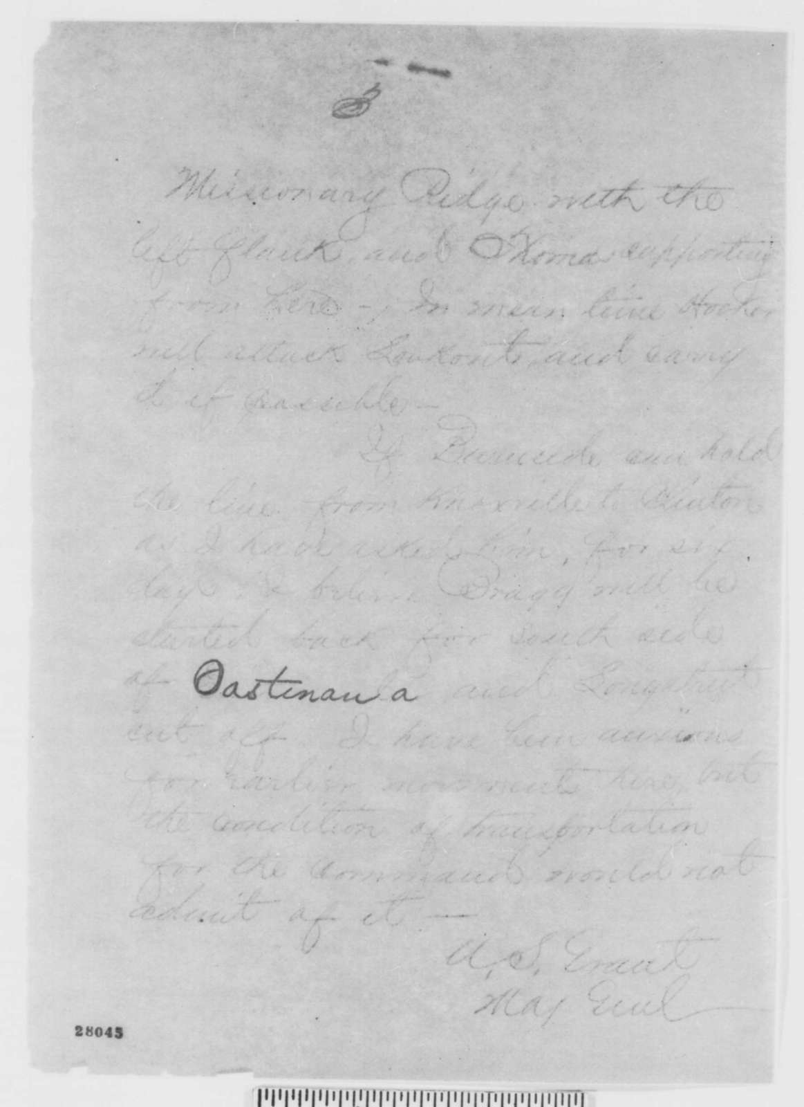 Ulysses S. Grant to Henry W. Halleck, Sunday, November 15, 1863  (Telegram concerning military affairs in Tennessee)