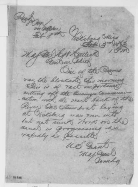 Ulysses S. Grant to Henry W. Halleck, Tuesday, February 03, 1863  (Telegram reporting that a Confederate ram ran through the blockade)