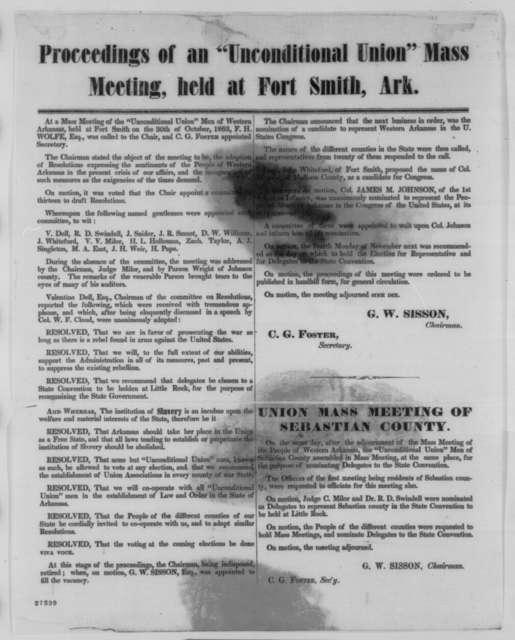 Unconditional Union Men of Western Arkansas, Friday, October 30, 1863  (Printed circular)