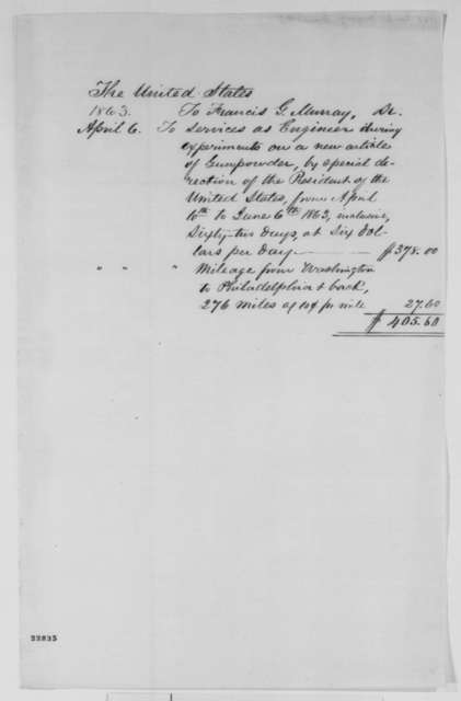 United States to Francis G. Murray, Monday, April 06, 1863  (Bill)