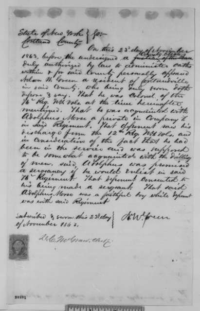 Uri H. Patterson, et al., Monday, November 23, 1863  (Affidavits on behalf of Adolphus Morse)