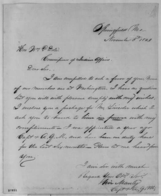 Uri Manly to William P. Dole, Thursday, November 05, 1863  (Cover letter)
