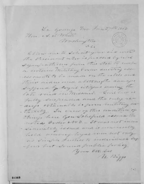 Uriah Biggs to Albert S. White, Tuesday, January 27, 1863  (Requests continuation of martial law in Missouri)
