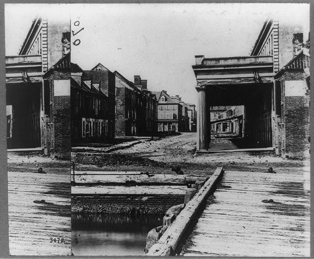 Vendue Range, Charleston, S.C.--The building on the left is where the first shell struck the city