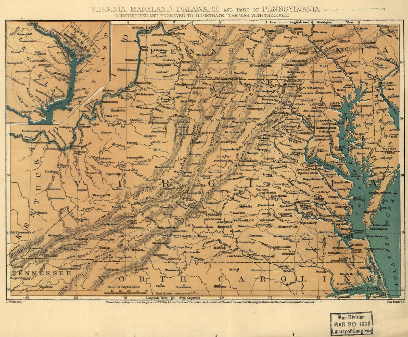 Virginia, Maryland, Delaware, and part of Pennsylvania.