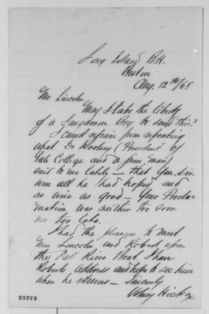 Volney Hickox to Abraham Lincoln, Wednesday, August 12, 1863  (Support)