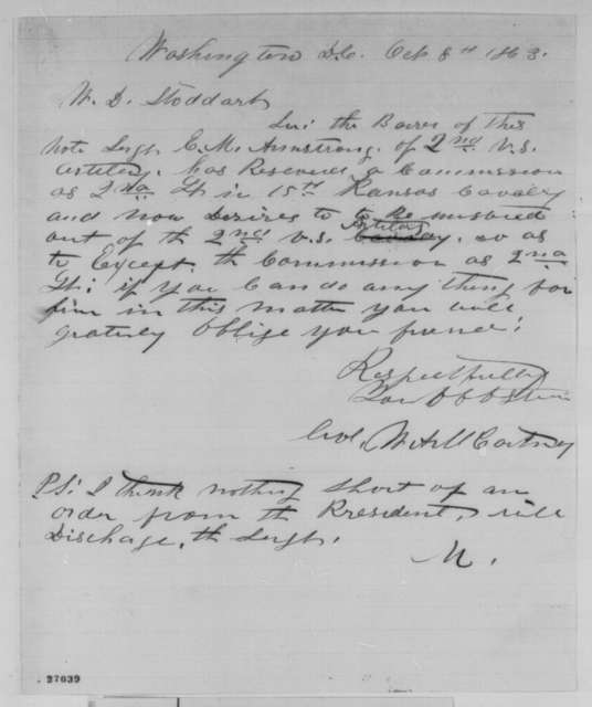 W. A. M. Cortney to W. D. Stoddart, Thursday, October 08, 1863  (Introduces E. M. Armstrong)