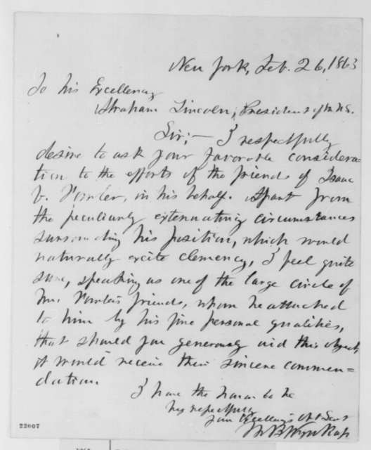 W. B. Wynkop to Abraham Lincoln, Thursday, February 26, 1863  (Case of Isaac Fowler)
