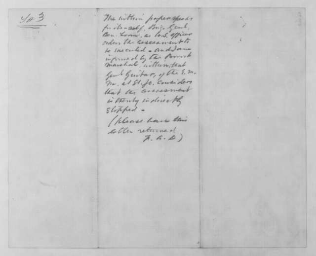 W. C. Toole to Franklin A. Dick, Tuesday, January 06, 1863  (Assessments in Missouri; endorsed by Dick)