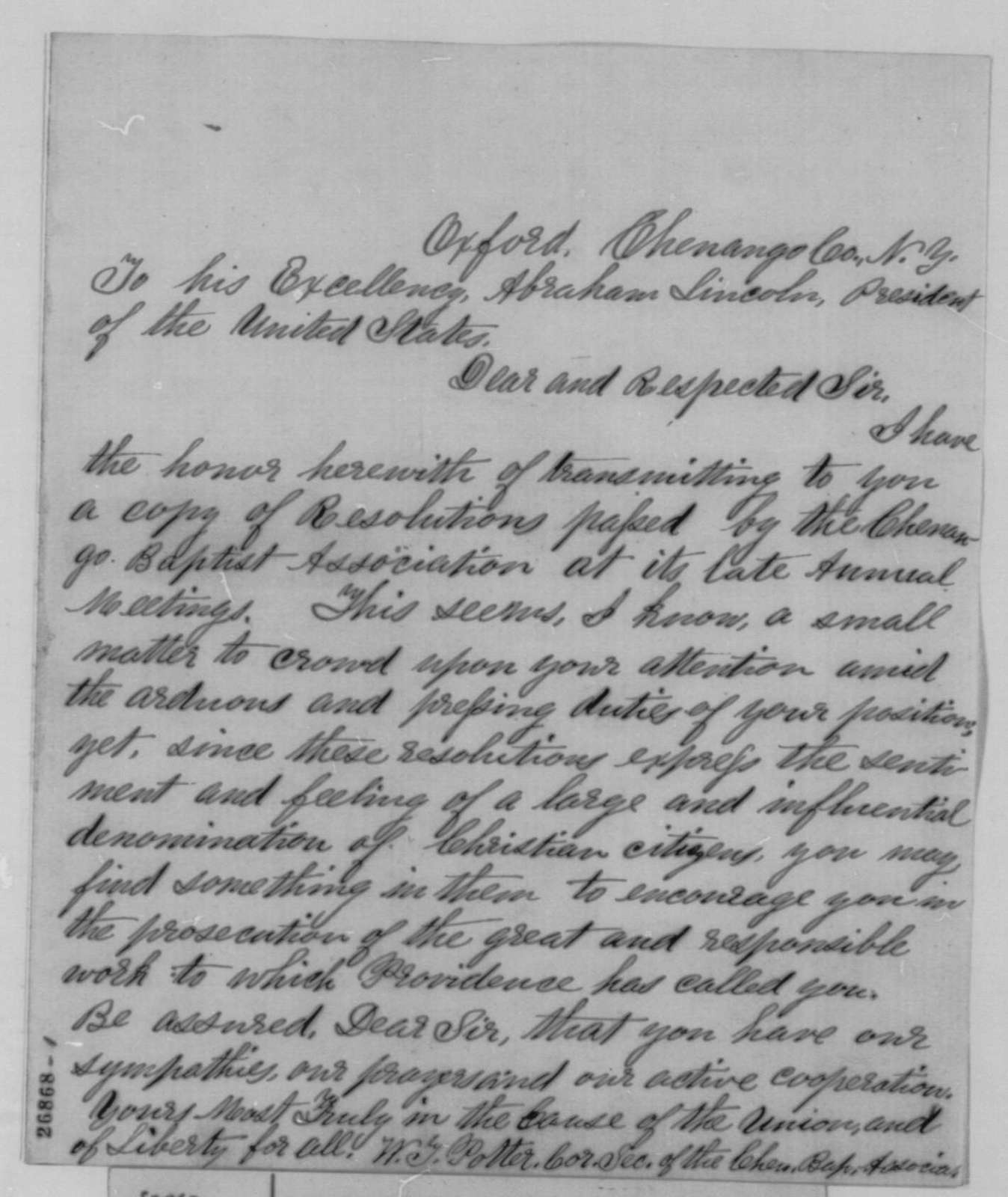 W. Y. Potter to Abraham Lincoln, October 3, 1863  (Sends resolutions of the Chenango Baptist Association)