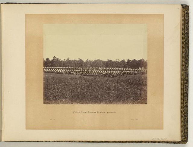 Wagon park, Brandy Station, Virginia / negative by T.H. O'Sullivan, positive by A. Gardner.