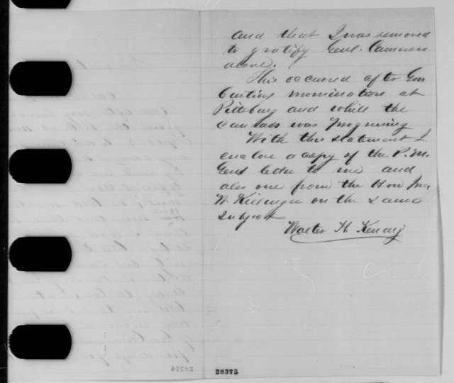 Walter H. Kendig to Andrew G. Curtin, Tuesday, December 01, 1863  (Kendig's removal as postmaster)