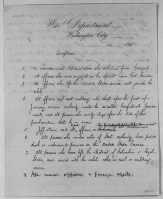 War Department, [December] 1863  (Memoranda for Lincoln's Proclamation of Amnesty and Reconstruction and Annual Message; with paragraph in Abraham Lincoln's hand)