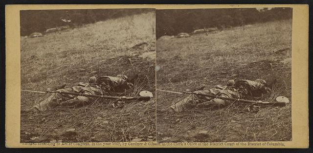 War effect of a shell on a Confederate soldier at battle of Gettysburg