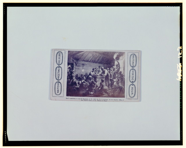 Watch meeting, Dec. 31, 1862--Waiting for the hour / Heard & Moseley,  Cartes de Visite, 10 Tremont Row, Boston.