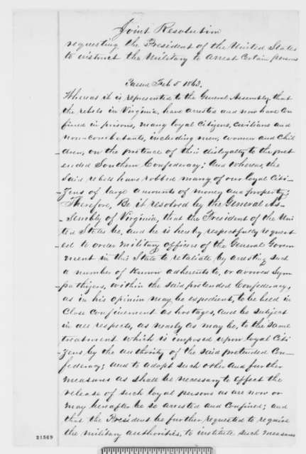 West Virginia Legislature, Thursday, February 05, 1863  (Resolutions concerning military arrests)
