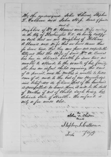 William A. Barnes, Tuesday, August 11, 1863  (Affidavit; with supporting affidavit by John Chism, et al.)