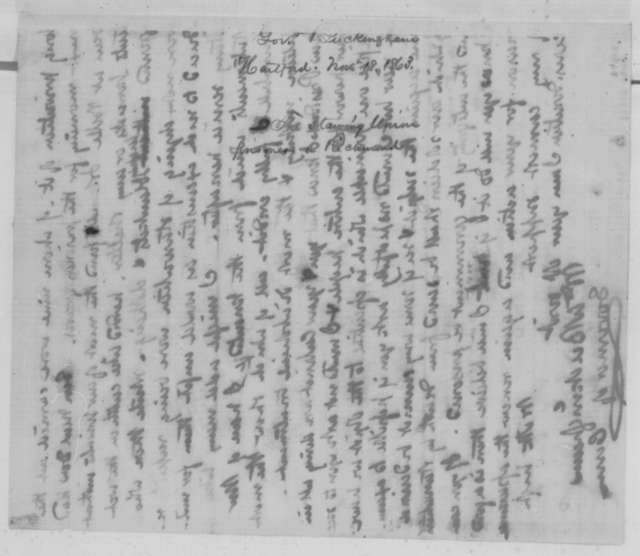 William A. Buckingham to Abraham Lincoln, Wednesday, November 18, 1863  (Conditions at Libby Prison)