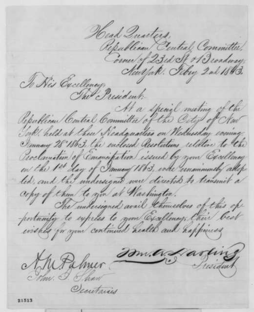 William A. Darling, et al. to Abraham Lincoln, Monday, February 02, 1863  (Send resolution of Republican Central Committee in New York)