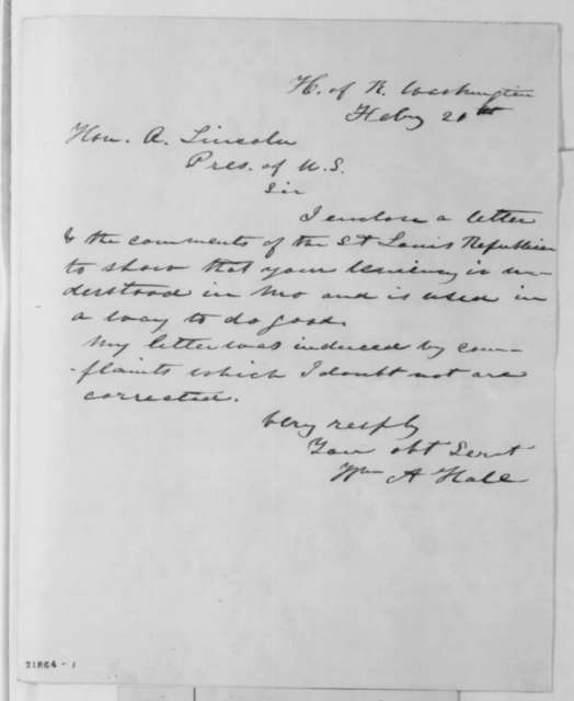William A. Hall to Abraham Lincoln, Friday, February 20, 1863  (Military assessments in Missouri)