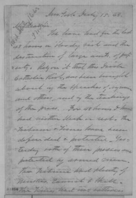 William A. Hall to Montgomery Blair, Wednesday, July 15, 1863  (New York draft riot)
