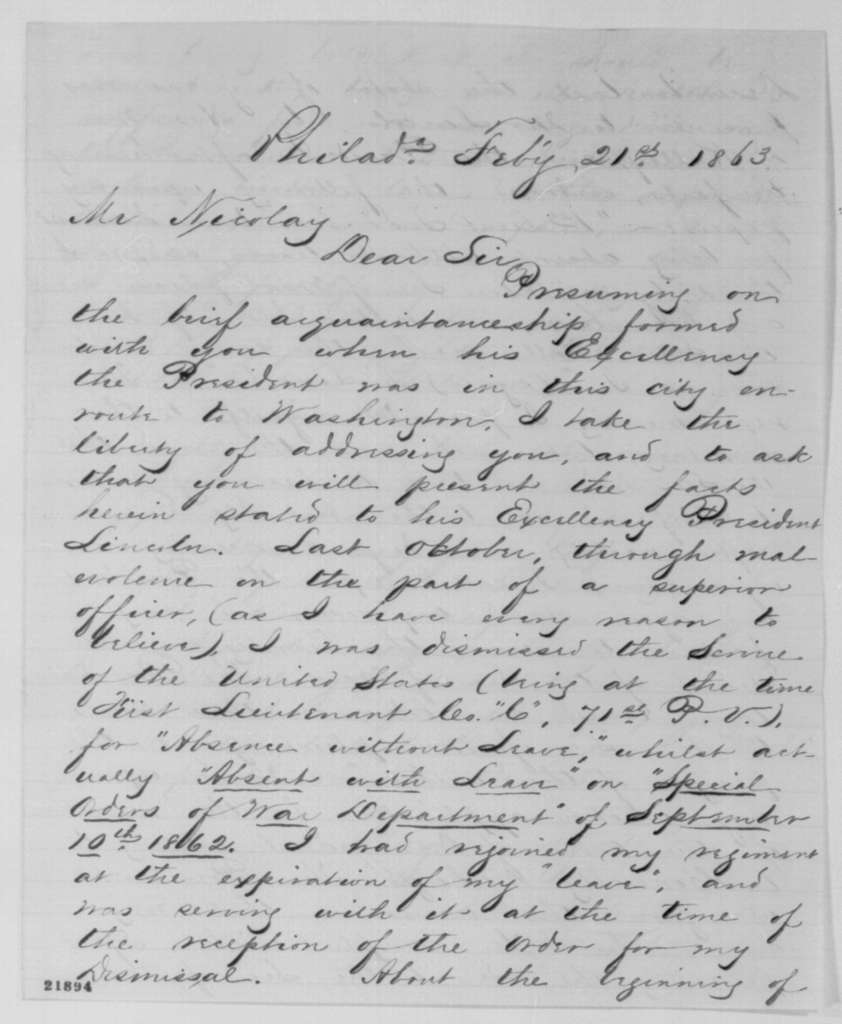 William A. Todd to John G. Nicolay, Saturday, February 21, 1863  (Seeks honorable discharge)
