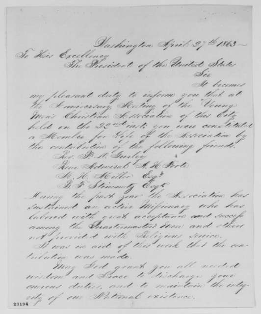 William Ballantyne to Abraham Lincoln, Monday, April 27, 1863  (Life membership in YMCA)