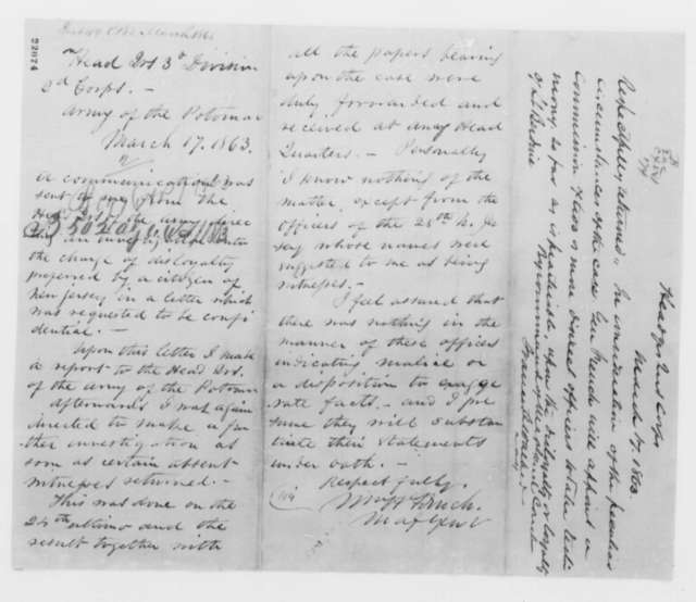 William Berdine to Abraham Lincoln, Monday, March 02, 1863  (Asks Lincoln to review his case; endorsed by John J. Webb, William H. French, et al.)