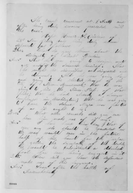 William Berdine, Wednesday, April 08, 1863  (Papers pertaining to the court martial of William Berdine; endorsed by Abraham Lincoln)