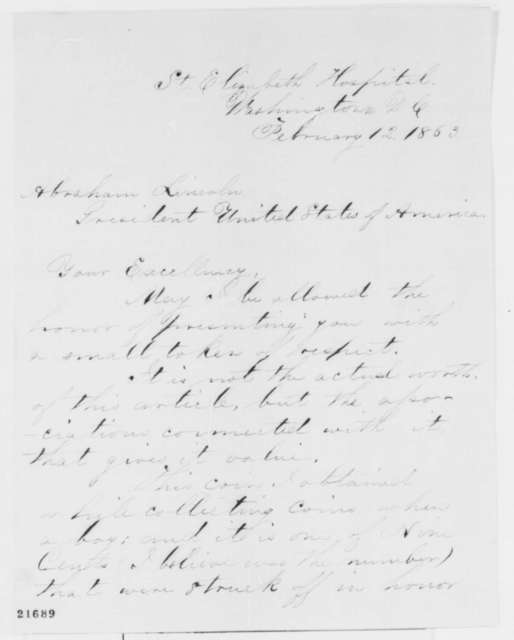 William C. Doel to Abraham Lincoln, Thursday, February 12, 1863  (Sends coin)