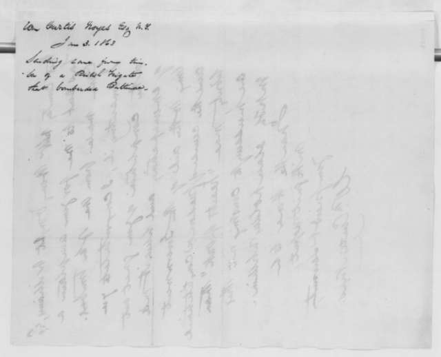 William C. Noyes to Abraham Lincoln, Saturday, January 03, 1863  (Sends cane made from timber of British ship from War of 1812)