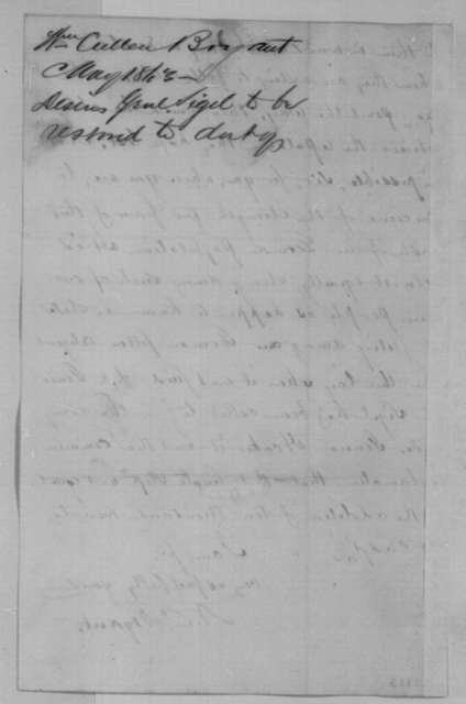 William Cullen Bryant to Abraham Lincoln, Monday, May 11, 1863  (Recommends General Sigel be given command of German soldiers)
