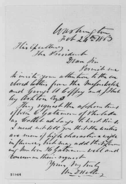 William D. Kelley to Abraham Lincoln, Tuesday, February 24, 1863  (Cover letter)