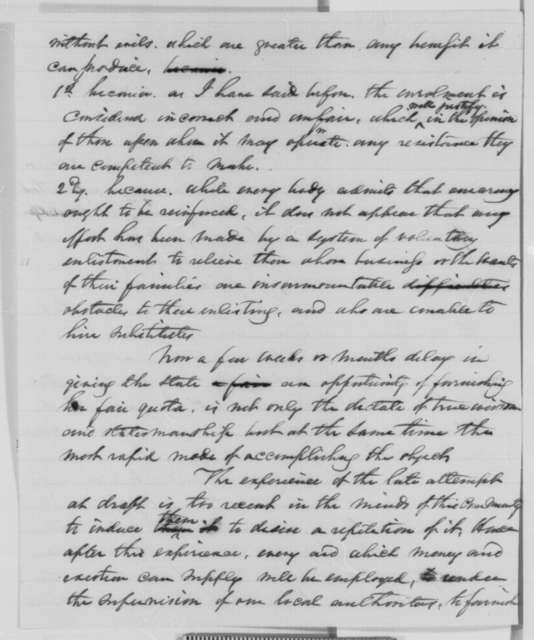 William F. Havemeyer to Abraham Lincoln, Tuesday, August 04, 1863  (Conscription in New York)