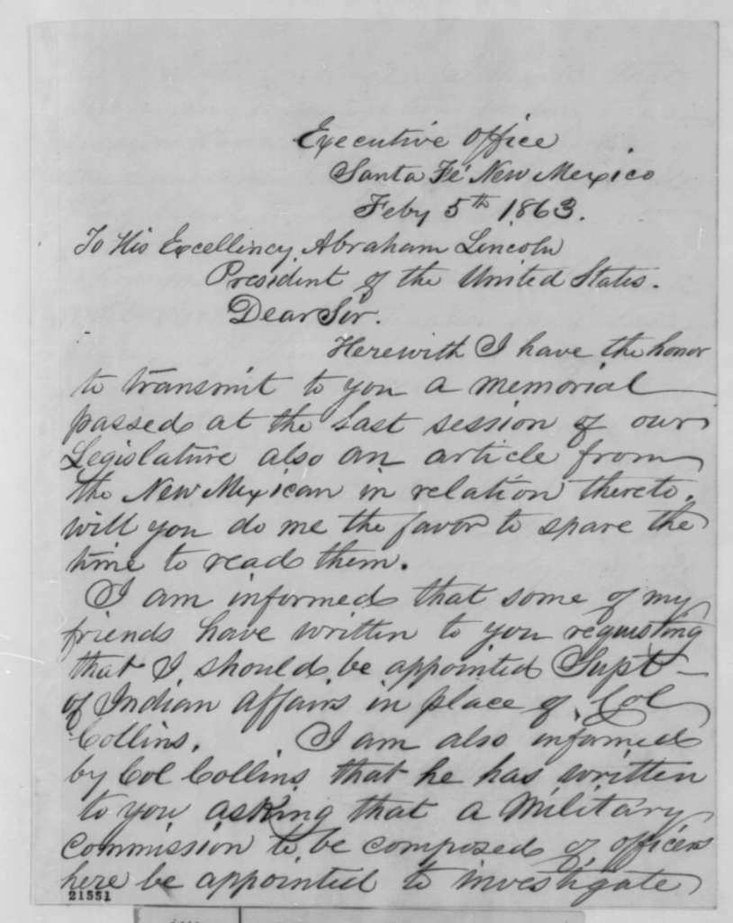 William F. M. Arny to Abraham Lincoln, Thursday, February 05, 1863  (Sends resolutions and indicates he would accept an appointment as commissioner of Indian affairs)