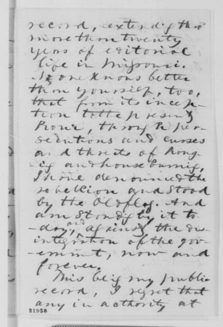 William F. Switzler to James Rollins, Tuesday, February 24, 1863  (Appointment as paymaster)