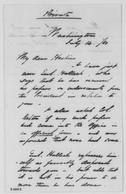 William Farquhar Barry to Joseph A. Haskin, Tuesday, July 14, 1863  (Military promotion)