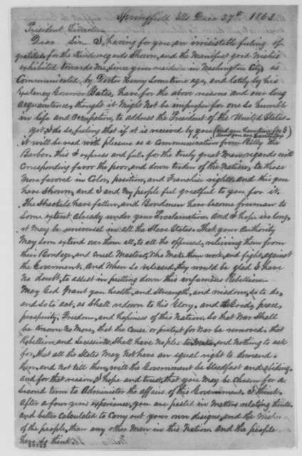 William Florville to Abraham Lincoln, Sunday, December 27, 1863  (Appreciation)