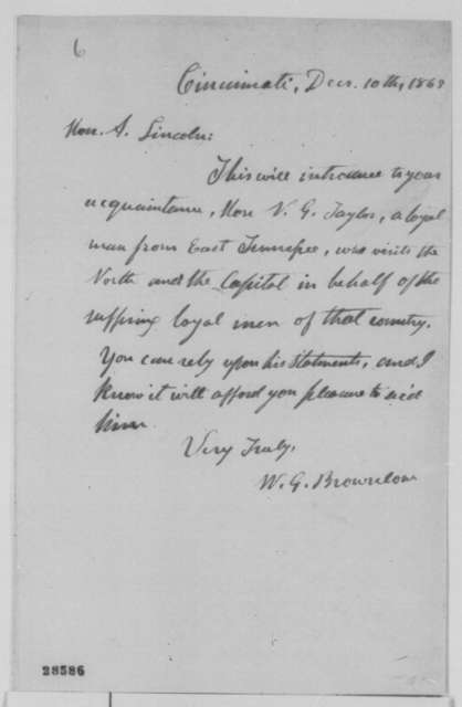 William G. Brownlow to Abraham Lincoln, Thursday, December 10, 1863  (Introduction)