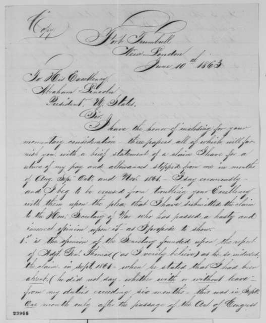 William Gates to Abraham Lincoln, Wednesday, June 10, 1863  (Seeks military pay)