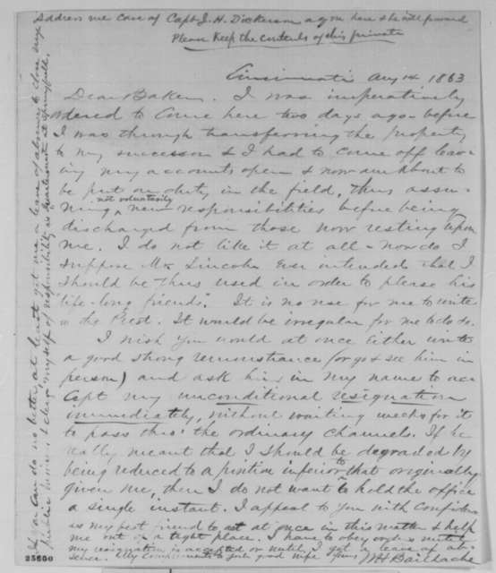 William H. Bailhache to Edward L. Baker, Friday, August 14, 1863  (Resignation from the service)