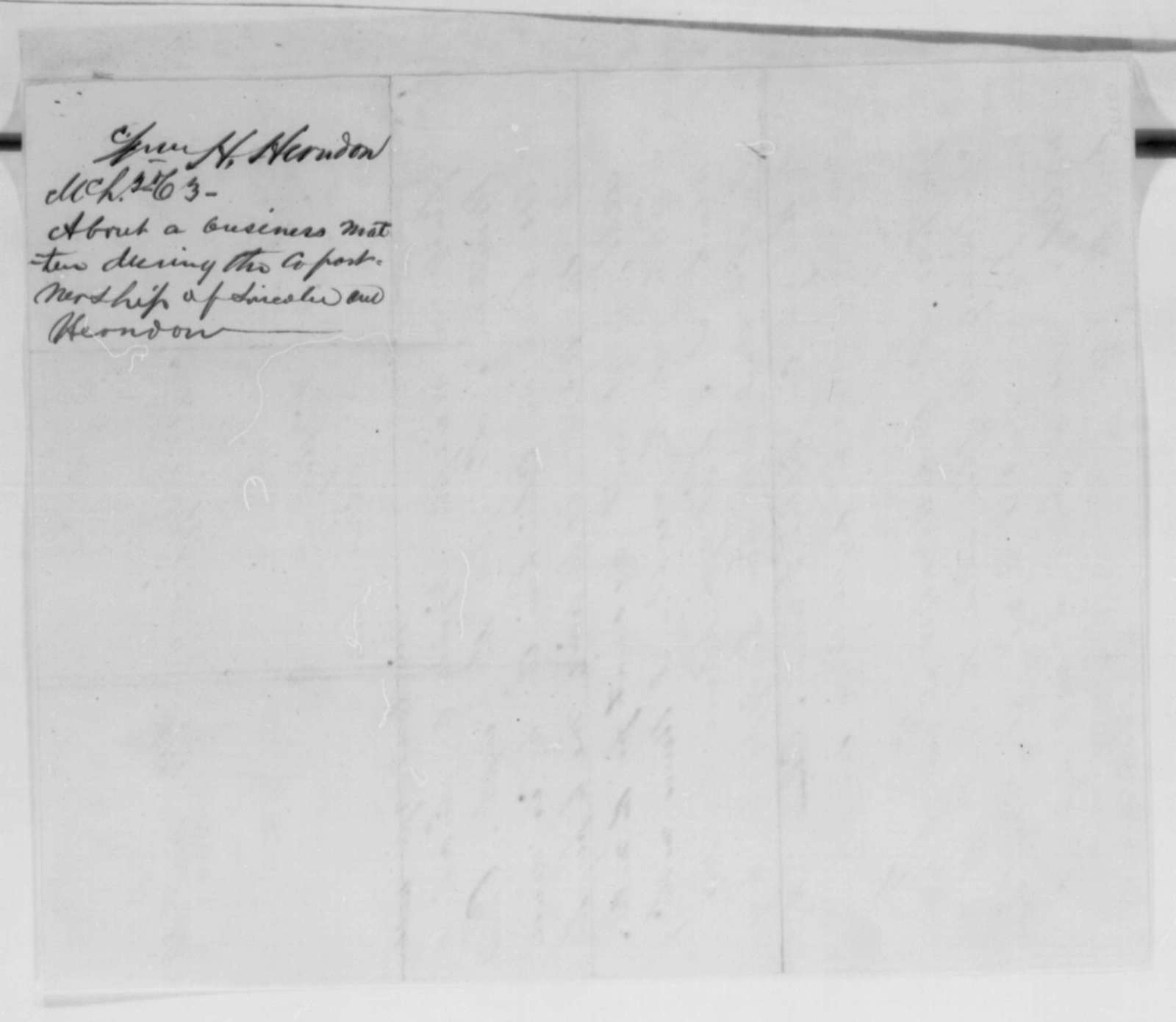 William H. Herndon to John G. Nicolay, Tuesday, March 03, 1863  (Legal business)