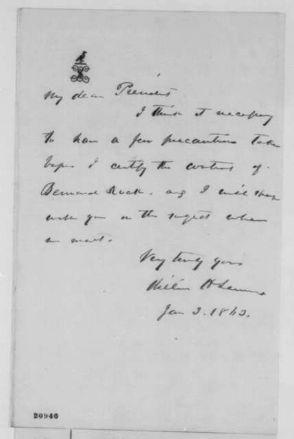William H. Seward to Abraham Lincoln, Saturday, January 03, 1863  (Contract with Bernard Kock)