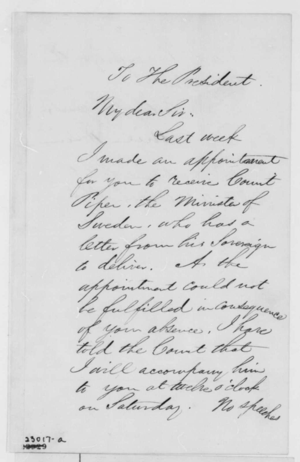 William H. Seward to Abraham Lincoln, Thursday, April 16, 1863  (Meeting with minister from Sweden)
