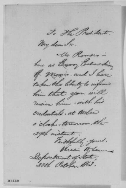 William H. Seward to Abraham Lincoln, Wednesday, October 28, 1863  (Meeting with envoy from Mexico)