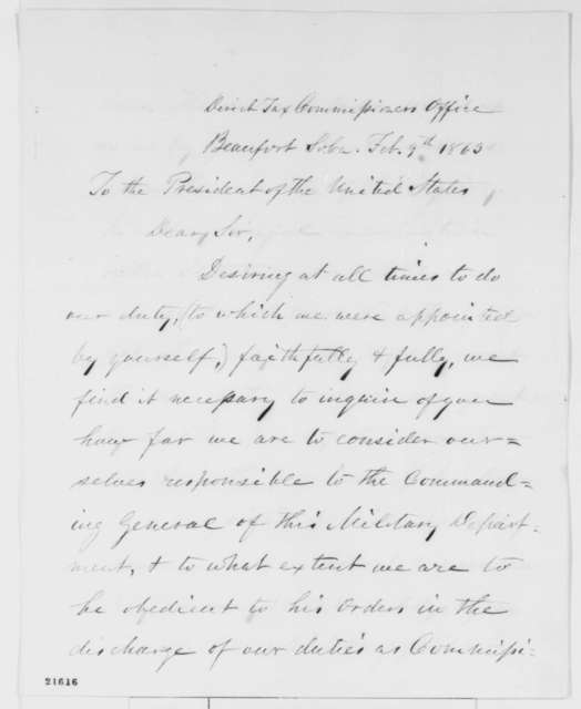 William Henry Brisbane and William E. Wording to Abraham Lincoln, Monday, February 09, 1863  (Collection of taxes in South Carolina; endorsed by Lincoln)