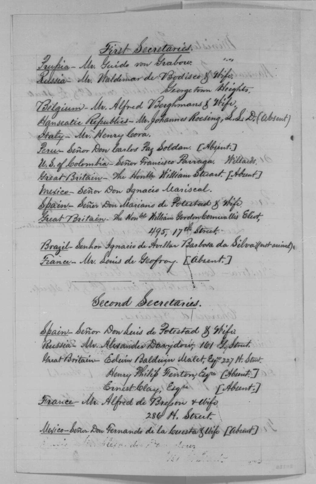 William Hunter, Wednesday, November 18, 1863  (List of members of the diplomatic corps)