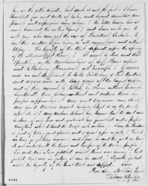 William Leighton to Hiram Barney, Tuesday, January 13, 1863  (Conspiracy to prevent opening of Mississippi River)