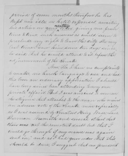 William Lilley to Abraham Lincoln, Friday, March 20, 1863  (Seeks re-instatement as a quartermaster; endorsed by Lincoln, March 25, 1863)