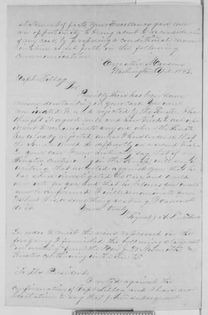 William Lilley to Abraham Lincoln, Monday, June 08, 1863  (Appointment as quartermaster; with copies of Lincoln letter and endorsements regarding his case)